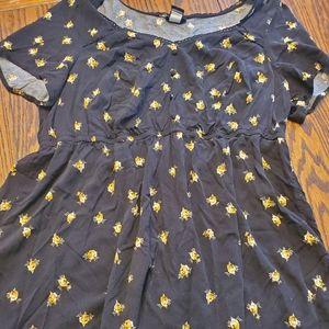 Torrid black floral blouse size 1